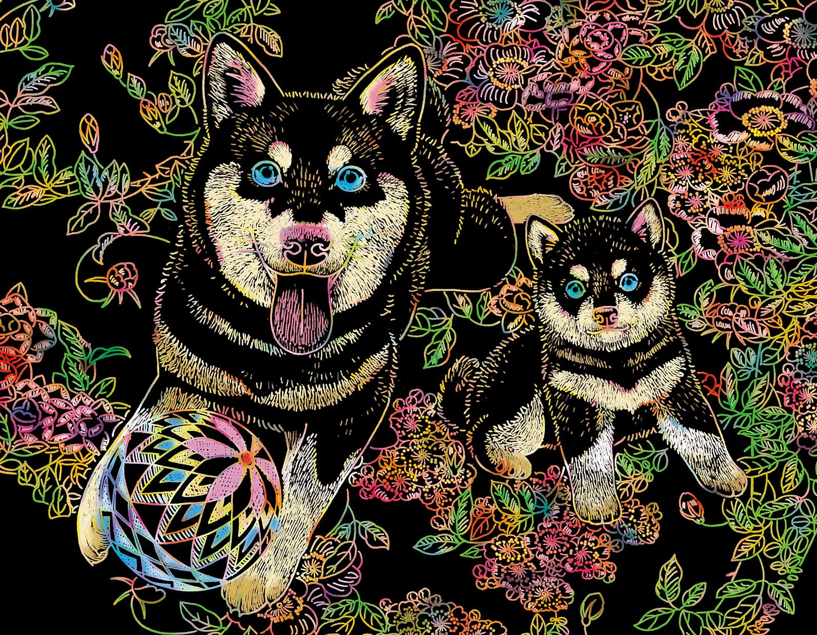 脳活性スクラッチアート 美しい日本の花と動物