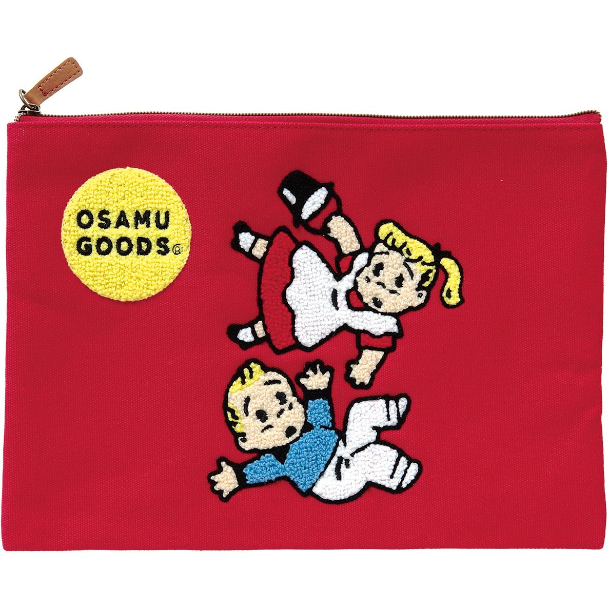 OSAMU GOODS オサムグッズ<br>サガラ刺繍フラットポーチ(レッド)