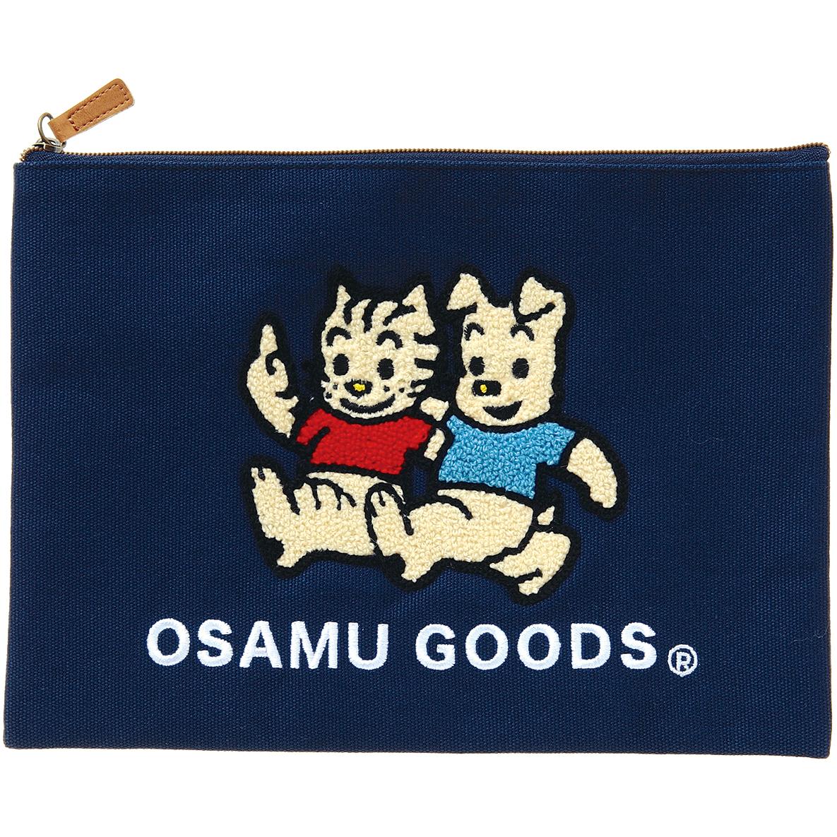 OSAMU GOODS オサムグッズ<br>サガラ刺繍フラットポーチ(ネイビー)